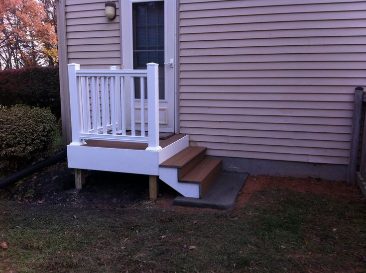 Back Door Steps With Landing Composite Decking And