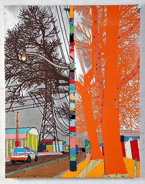 Dave Hind, Orange Crush, 37x29, reclaimed metals