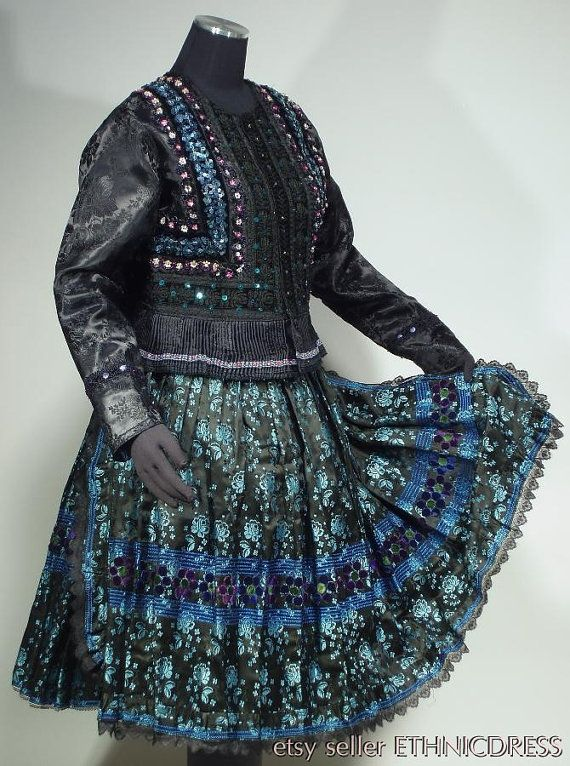 Complete Woman's Slovak Folk Costume from Tekov, Slovakia - embroidered velvet jacket with pleated peplum   bocade skirt & matching apron