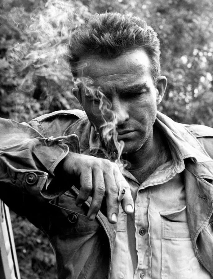 """Montgomery Clift on the set of the Edward Dmytryk film The Young Lions, 1958. Leo Fuchs. Gelatin silver """