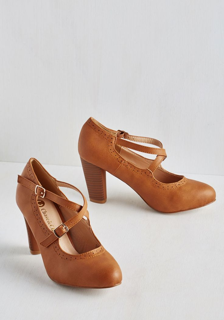 On My Honors Heel. Cross our hearts - youll teach a lesson in style just by walking to class in these caramel heels! #brown #modcloth