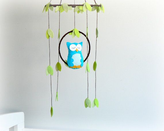 Owl mobile - woodland - baby mobile - cyan, light blue and green - nursery decor - MADE TO ORDER