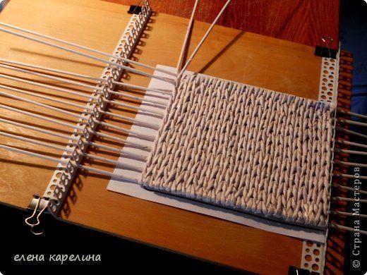 Мастер-класс Поделка изделие Плетение СТАНОК ДЛЯ ПЛЕТЕНИЯ КВАДРАТНОГО ДНА Трубочки бумажные фото 12
