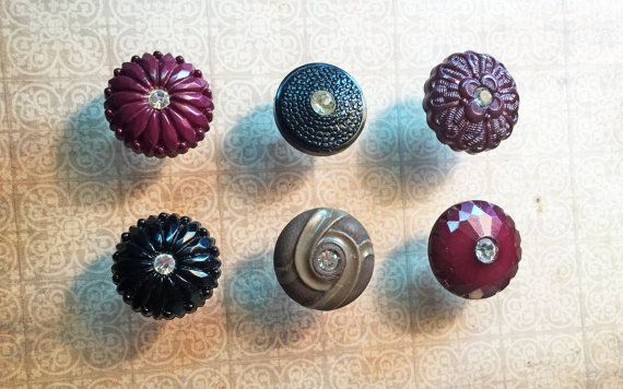 Vintage Button Push Pins  Vintage Rhinestone by RescuedOfferings
