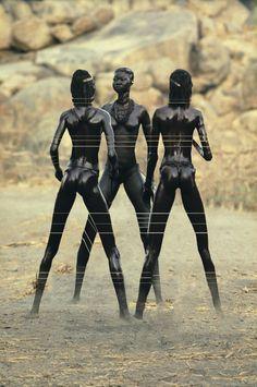 "teiq: ""Nubian Warrior Women of Kau, South East Nuba Mountains, Sudan original photo by: Leni Riefenstahl edited by: teiq """