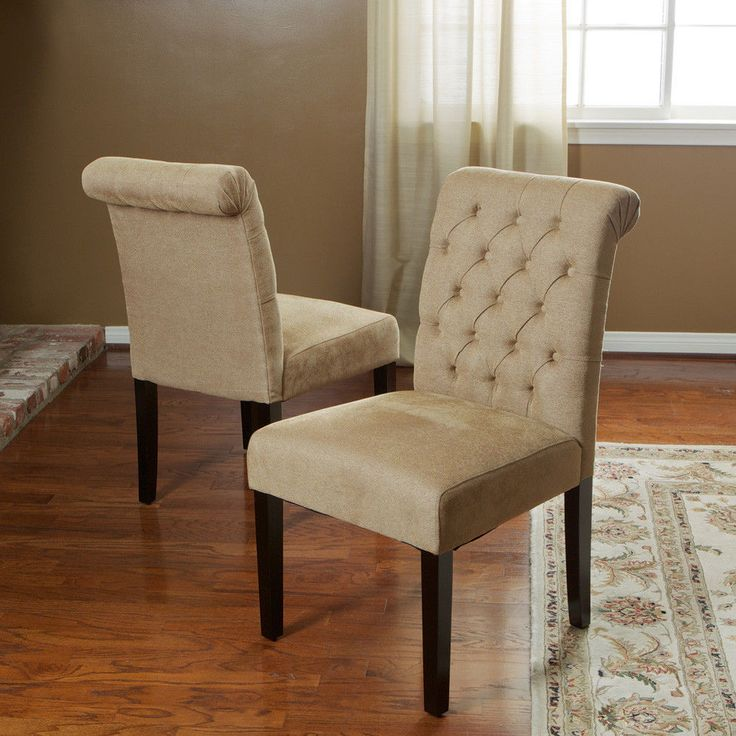 Set Of 2 Roll Back Tufted Dining Chairs Chairs W/ Button Accents  #Contemporary