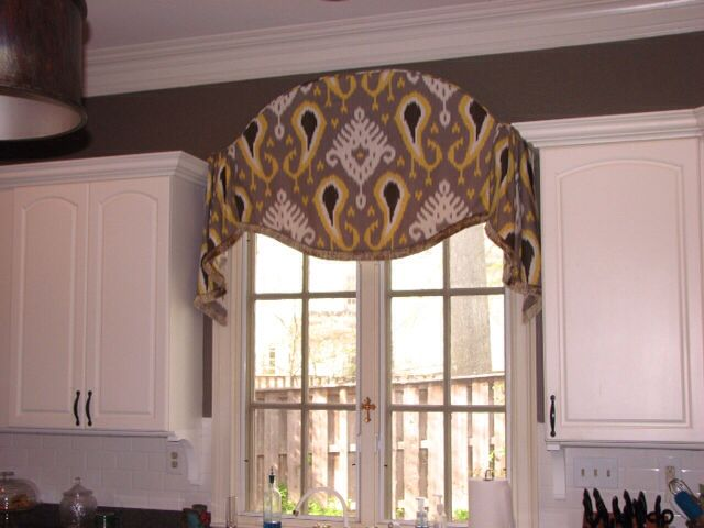 87 best cornice boards images on pinterest curtain ideas for Arched kitchen window treatment ideas