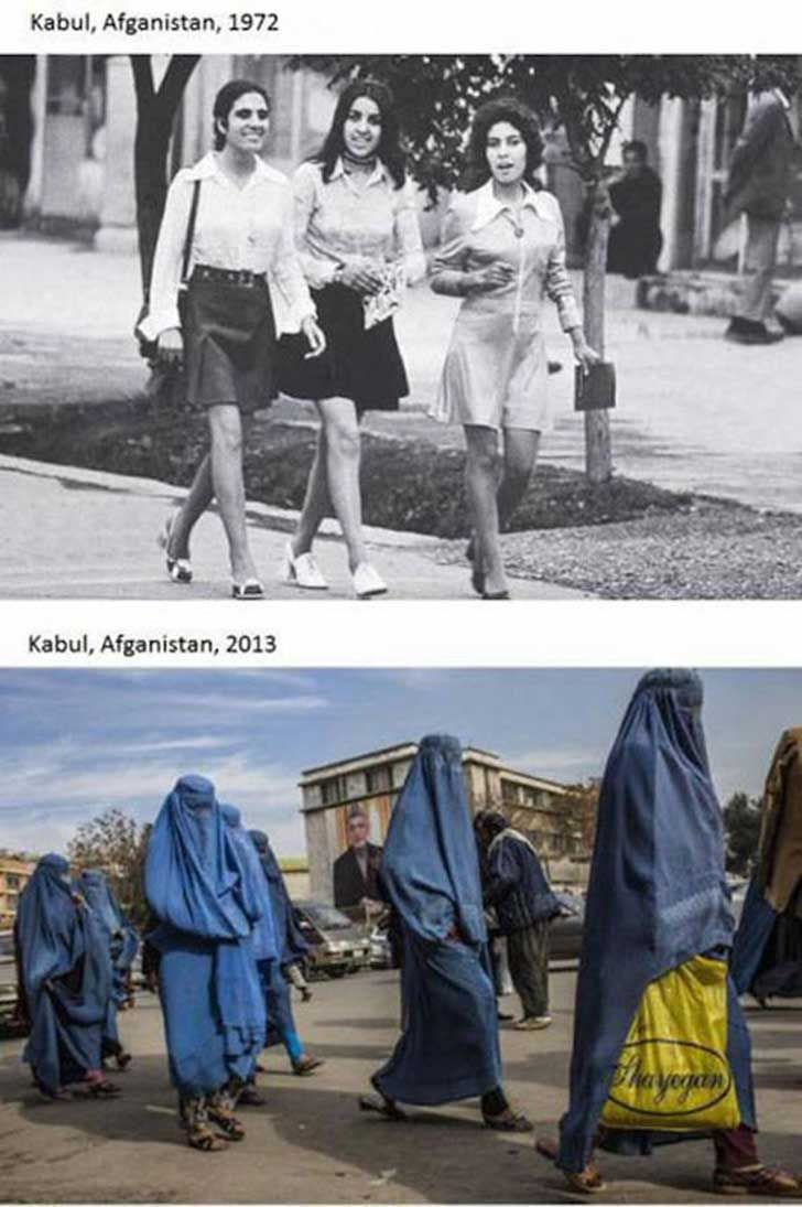 Women of Afghanistan before the Taliban took over pictured above compared to women after the Taliban took over pictured below.