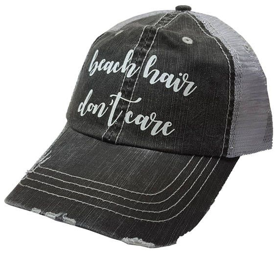 Beach Hair Don't Care Distressed Glitter Ladies Trucker