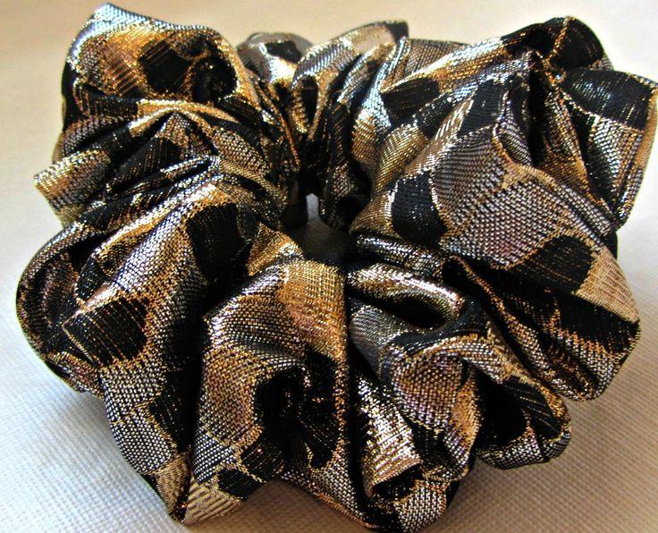 Metallic Scrunchie Silver Gold and Black Hair Accessories Handmade by Just Scrunchies for Spring and Summer by JustScrunchies on Etsy