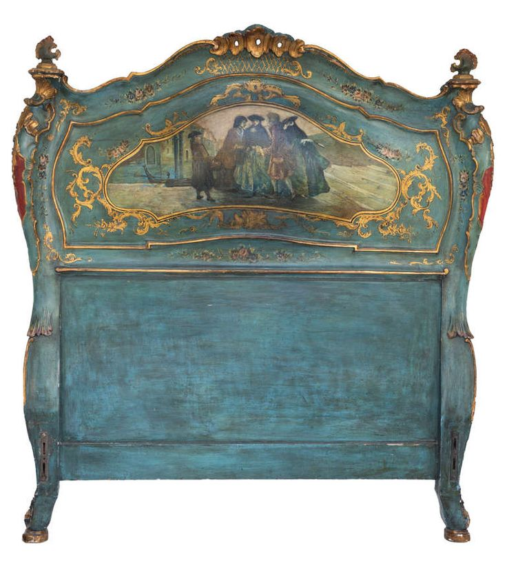 Pair of venetian italian twin beds venetian twins and for Painted on headboard