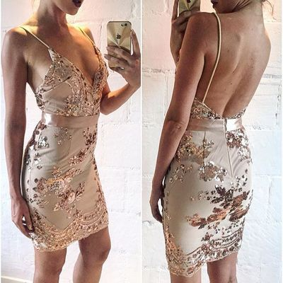 Sexy Gold Short Sequins Prom Dress Homecoming Dress Cocktail Dress