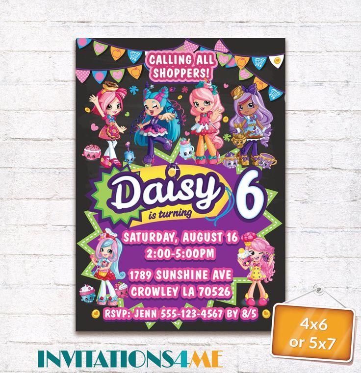 Shopkins Invitation Shoppies Season 7 Season 8 Birthday Party New Invite Card Customized Digital File by INVITATIONS4ME on Etsy
