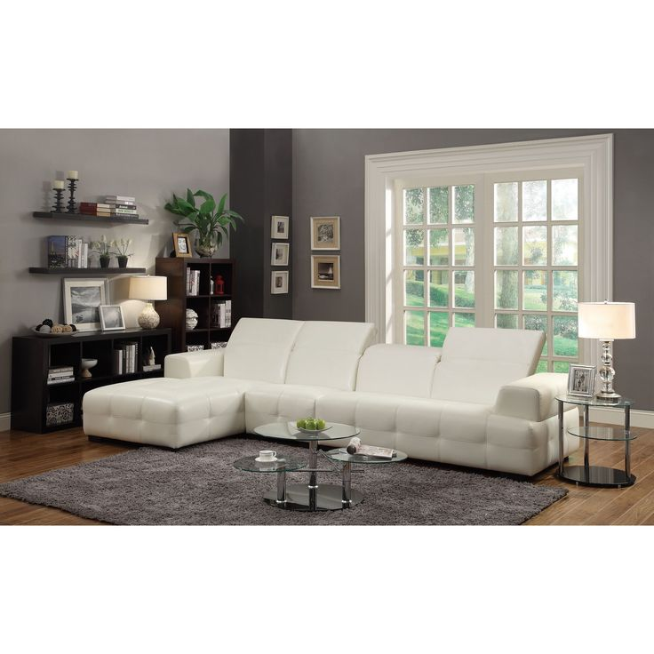Coaster Company White Leatherette Sectional Sectional Sofa
