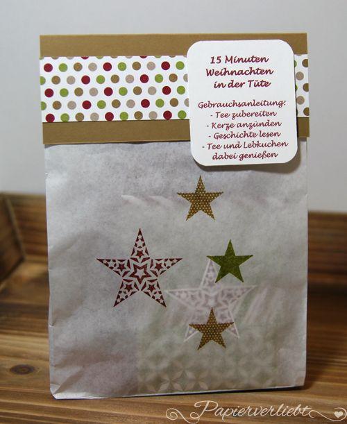 """Hallo Ihr Lieben! Ich möchte Euch heute meine Version der """"15 Minuten Weihnachten in der Tüte"""" zeigen. Diese kleinen Päckchen sind sehr beliebt und jeder macht sie ein wenig anders. Meine sind aus ..."""