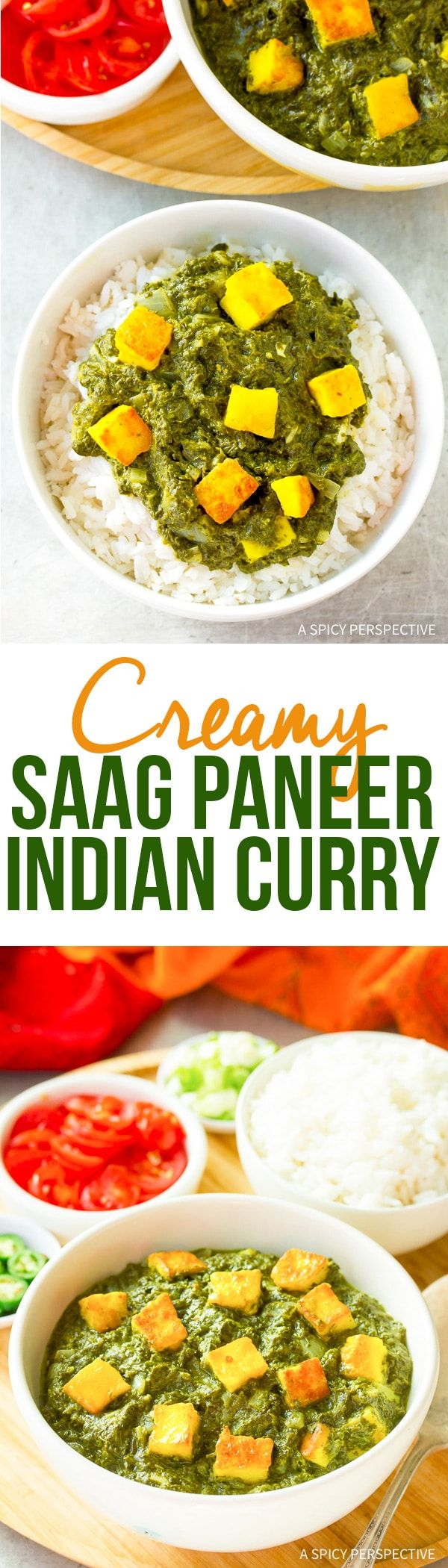 Creamy Saag Paneer Recipe - A classic vegetarian Indian dish made with fresh spinach, coconut milk and paneer cheese. It's ready in just 15 minutes! via @spicyperspectiv