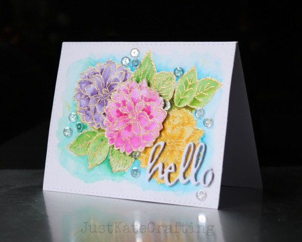 Hello | by just kate2013 Made using Winnie and Walter stamps and dies watercoloured with peerless watercolours. and pretty pink posh sequins.