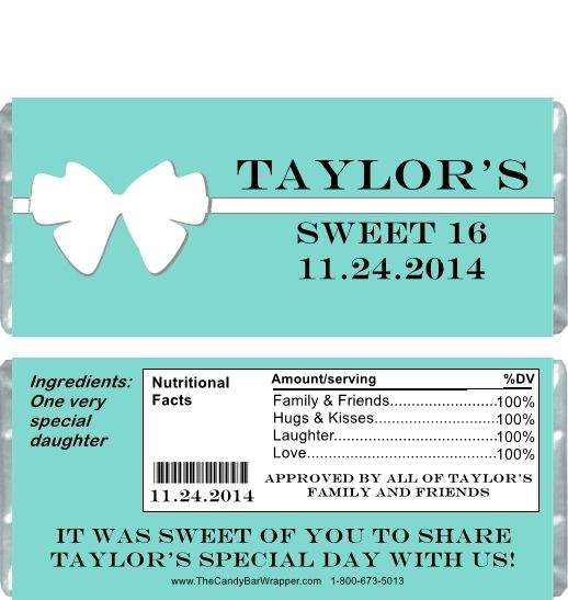 These tiffany 2 sweet sixteen candy wrappers will make the perfect sweet 16 party favors.