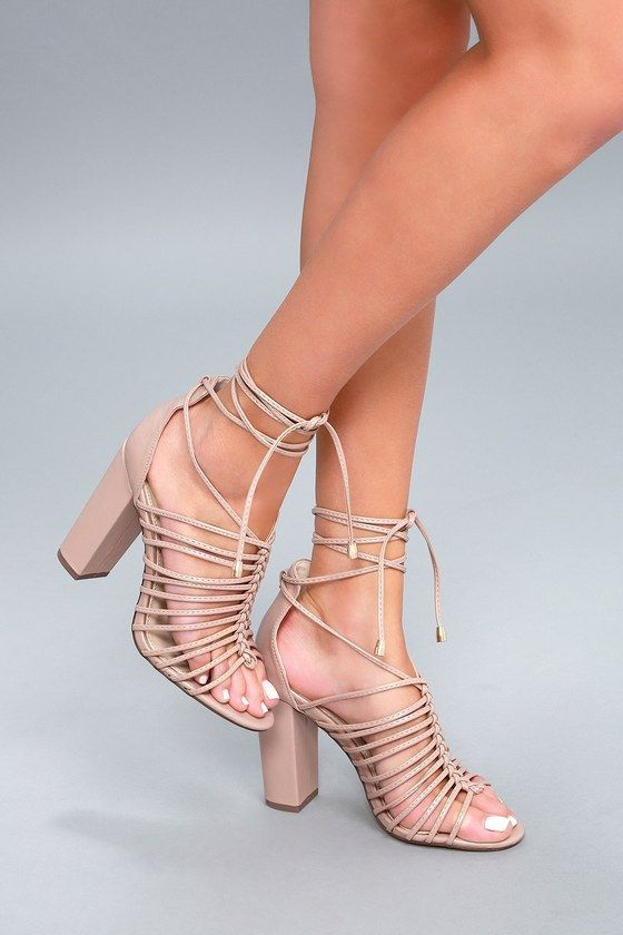 be08b7cd99b Two trends come together in blissful harmony in the Kiana Nude Caged Lace-Up  Heels