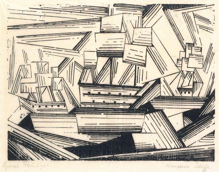 Kreuzende Segelschiffe  2, 1919 Lyonel Feininger | woodcut on paper | 6 3/4 x 8 3/4 in. (17.1 x 22.3 cm)