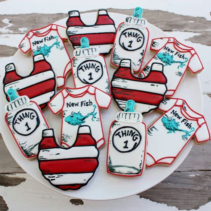 Dr. Seuss Baby Shower Cookies~ No source, thing one, red, white, bib, Onesie, bottle, Seuss fish