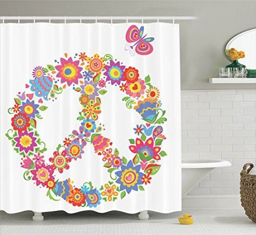 Pink Shower Curtain Hippie Decor By Ambesonne Peace Sign With Flowers Colorful Illustration Print World