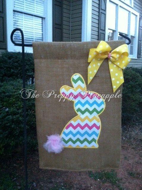 Bunny Burlap Garden Flag single sided by ThePreppyPineappleSC, $22.00