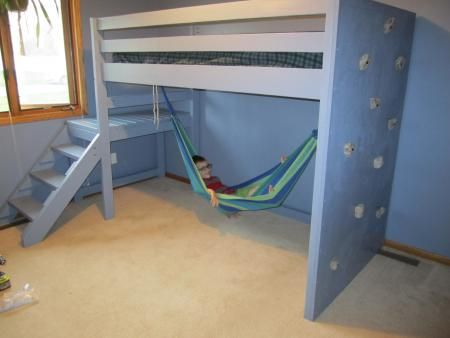 camp loft bed with rock wall and hammock 366 best big boy room images on pinterest   bedroom bedrooms and      rh   pinterest