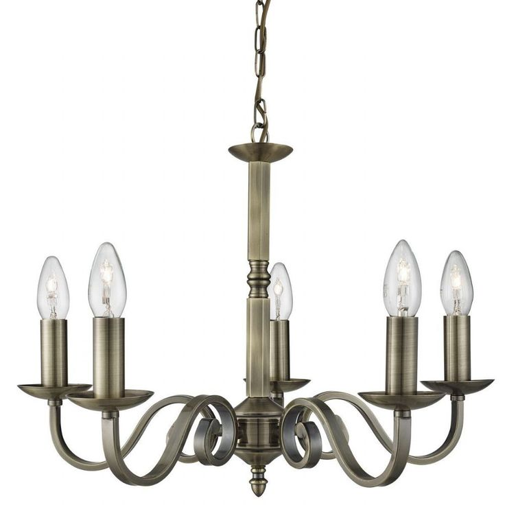 RICHMOND 5 LIGHT CEILING PENDANT SCROLL ARMS DETAIL ANTIQUE BRASS 1505-5AB by Searchlight