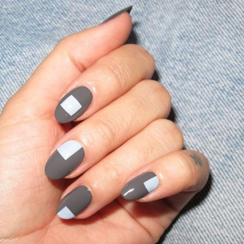 15 fresh nail art ideas to try this winter: oval shaped nails adorned with squares look chic.