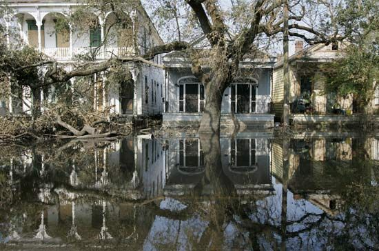 flooded street in New Orleans in the wake of Hurricane Katrina