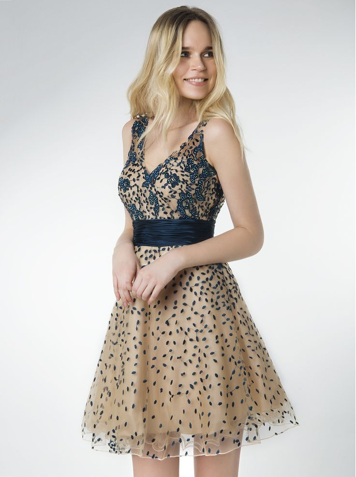 Short evening tulle dress with beading.  http://www.mikael.gr/en/new-collection/30462.html