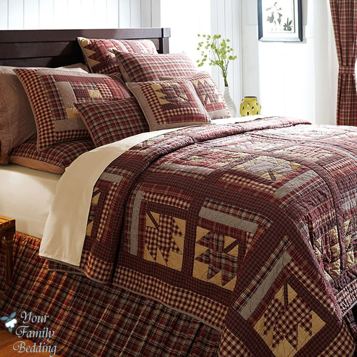 quited bedding | ... Log-Cabin-Lodge-Twin-Queen-Cal-King-Oversized-Cotton-Quilt-Bedding-Set