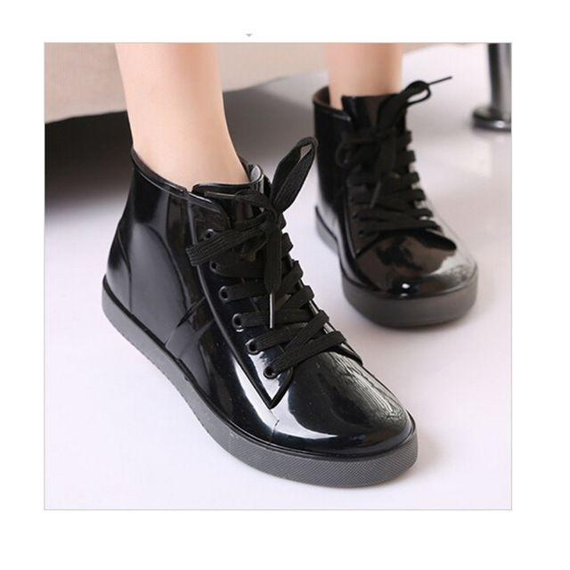 Женская обувь на шнуровке сапоги дождь моды Твердые Квартиры обувь Повседневная круглый носок женщин ботильоны Желе Водонепроницаемые ботинки Мартин сапоги купить на AliExpress