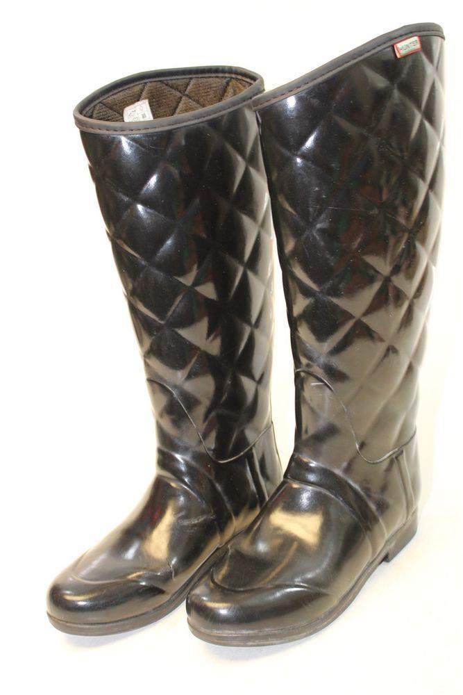 636cbe7cbb9 Hunter Womens 7 38 Sandhurst Savoy Black Quilted Tall Flat Rain ...