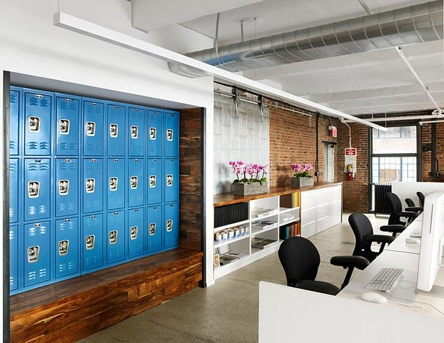 Love love love the setup here.  These are new lockers, but they look like an art installation in this office.