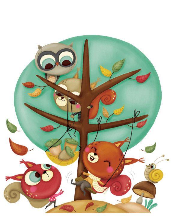 illustration for children, art print, original wall deco for nursery room, digital - Squirrels playing on the tree. €20.00, via Etsy.