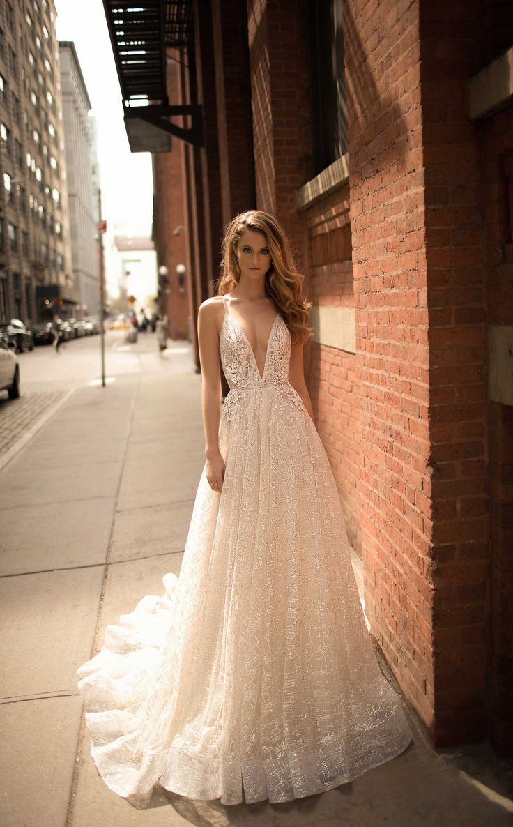 Sexy Sequins Lace Top Wedding Dress, Deep V-neck Open Back Bridal Dress from Show Fashion