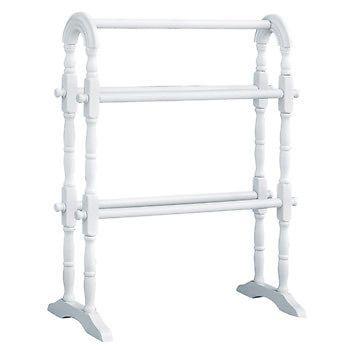 New White Wood Free Standing Bathroom Towel Rail Rack