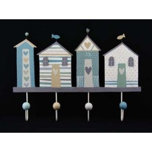 Gisela Graham Shoreline Seaside Nautical Large Wooden 4 Hook Peg Rail 42x10cm: Amazon.co.uk: Kitchen & Home