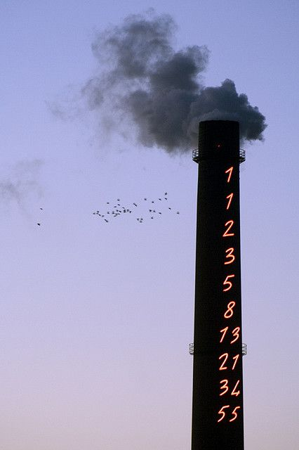 Chimney of Turku Energia energy plant with Fibonacci Sequence