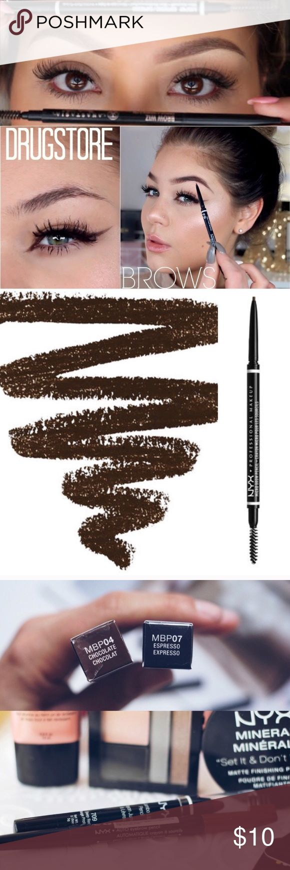 🔅NYX *EXPRESSO* Micro Brow Pen🔅W/GIFTS🎁😍 🔅BRAND NEW & UNOPENED🔅NYX AUTO EYEBROW PENCIL IN *EXPRESSO*🔅Build FULL beautiful brows with NYXs ultra-thin Micro Brow Pencil!! So precise it coats even the finest hair with color for a *natural* looking finish!🔅🔅INCLUDES SUPER CUTE FREE GIFTS THAT UR GONNA LOVE🔅EXPEDITED SHIPPING🔅BUNDLE UR 3 FAVORITE ITEMS FOR AN *ADDITIONAL* 15% OFF AND FREE NYX PRODUCT!!🔅READ MY REVIEWS🔅TONS OF GIFTS🔅BUNDLE & SAVE MONEY🔅EVEN ASK ABOUT SOLD…