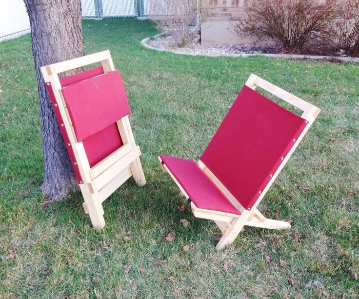 """This is my heavy-duty take on the classic 2-piece wooden beach chair (or """"camp"""" chair). They are comfortable to sit in and rock solid. They hold my 250 pounds without a creak! They pack away tidily with the seat section nesting into the back section for storage or transport.I made these from 1"""" thick solid ash wood with cotton canvas and lightly padded seats. I'm very happy with how they turned out, and I hope you'll use my plans to make some for yourself.Full details follow. Thanks for…"""