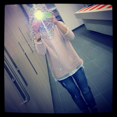 Ootd baby pink with white