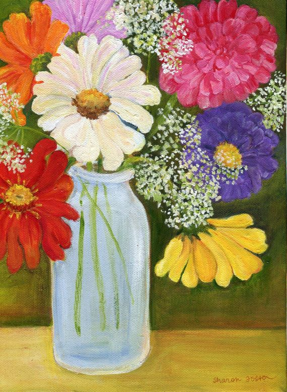 Zinnias and Queen Anne's Lace in a milk bottle by SharonFosterArt, $85.00