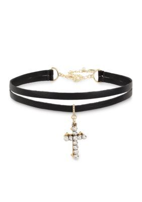 Betsey Johnson Women Gold-Tone Double Cross Charm 2 Row Black Choker Necklace - Black - One Size