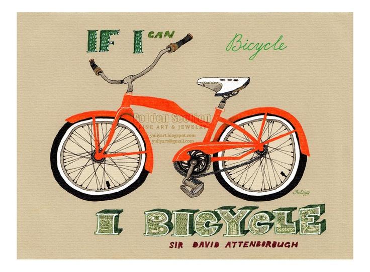 Art print gift for him bicycle nursery decor illustration drawing orange statement green quote wisdom bike sport vehicle man fitness gear. $17.00, via Etsy.