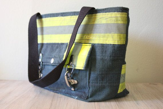 Recycled Firefighter Turnout Tote Bag with front pocket, carry all, bunker gear shopping bag, book bag 0058