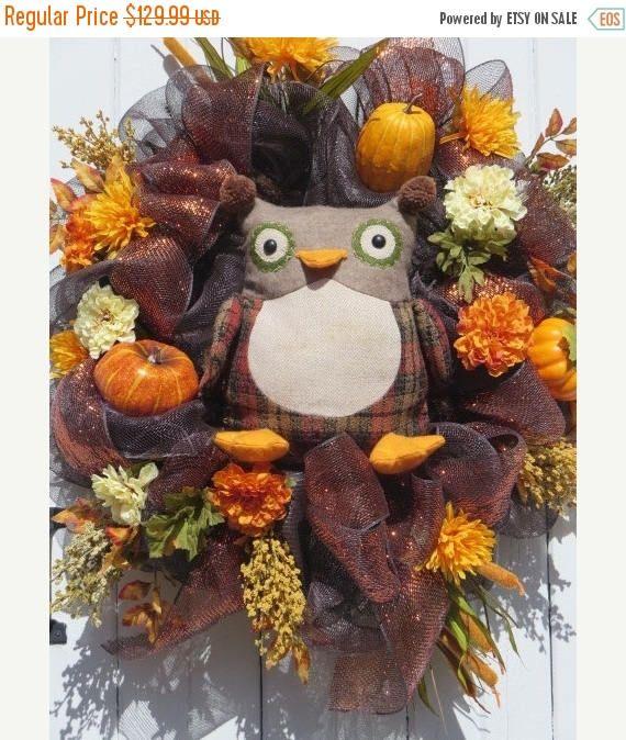 CIJ JULY SALE Fall Owl Wreath Fall Mesh Wreath Fall Door