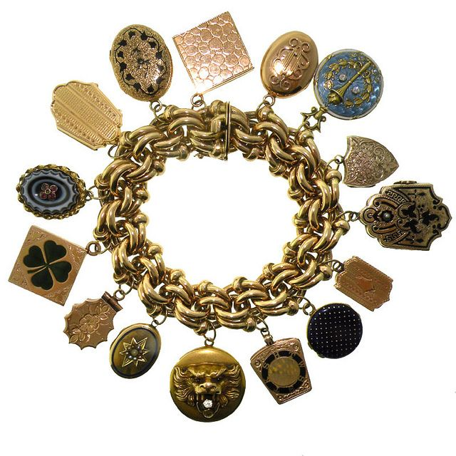 Huge fantasy charm bracelet with lockets from 1800 to 1920 (Lawrence Jeffrey Estate Jewelers; San Francisco Fall Antiques SHow 2010)